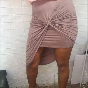 Dresses & Skirts - Sexy Charlotte Russe tan spandex body skirt sz M